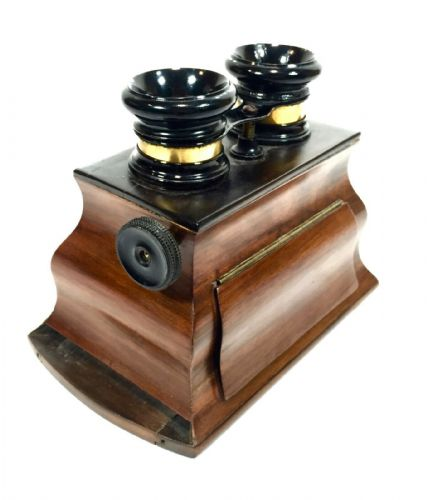 Antique Wooden Stereo Viewer / Stereoscope / Bombe Style Mahogany / 19th Century